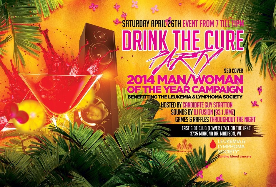 drink the cure party flier east side club of madison